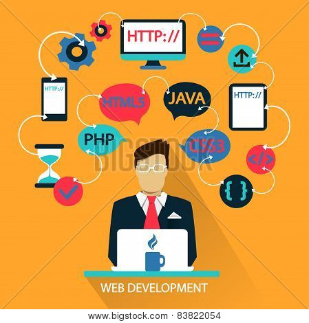 Flat design . Freelance career. Web development.