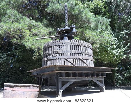 Ancient Wine Press In Chile.