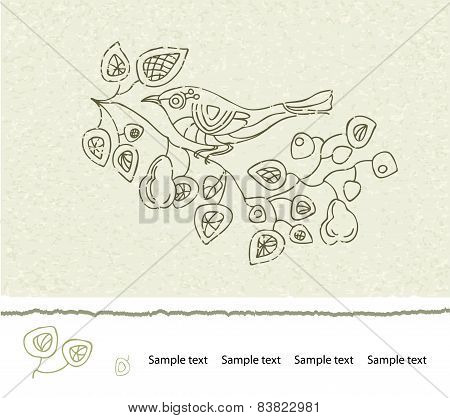 Spring floral vector vintage card with a branch of blossoming pear trees and a bird.