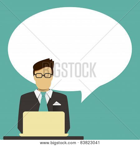 Businessman with speech bubble for text.