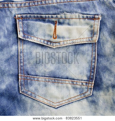 Pocket. Denim Background.