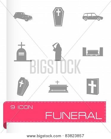 Vector funeral icons set