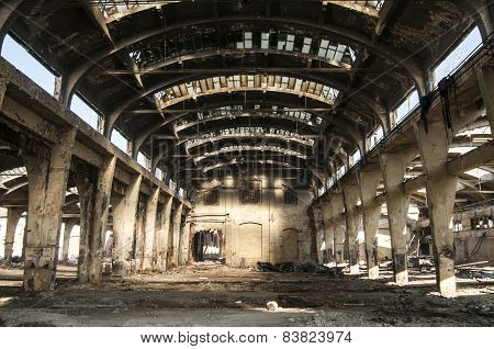 Old abandoned railway plant inside