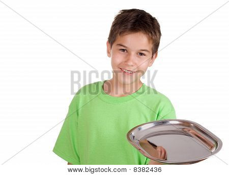 Happy Boy With Silver Tray In His Hand