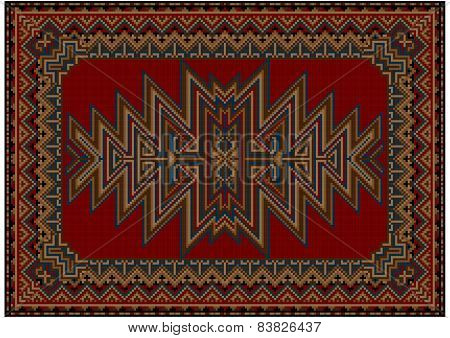 Bright oriental carpet with original pattern on a red background