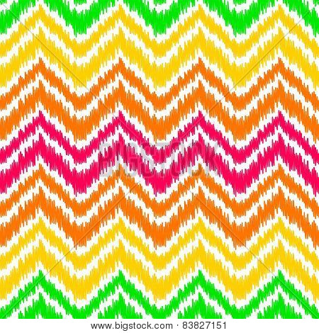 Colorful ikat middle east traditional silk fabric chevron zig zag seamless pattern on white, vector
