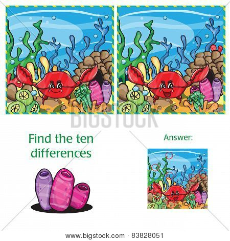 Visual Game Find 10 Differences With Answer