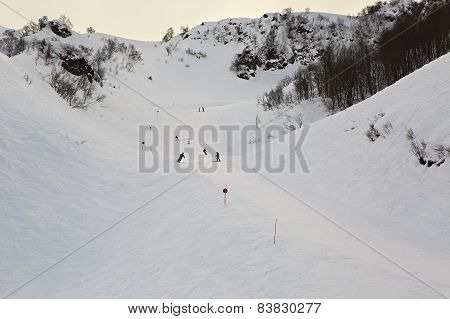 Mountain skitrack on the slope of Caucasus Mountains.