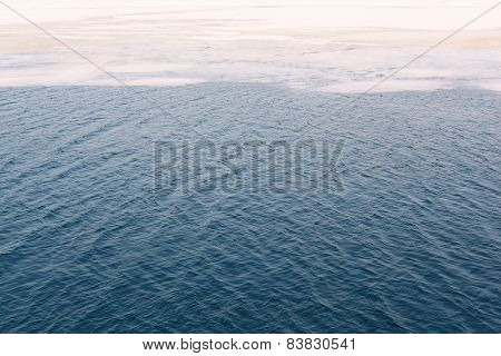 Cracked Ice Floes On A Frozen Ocean, Abstract Winter Background