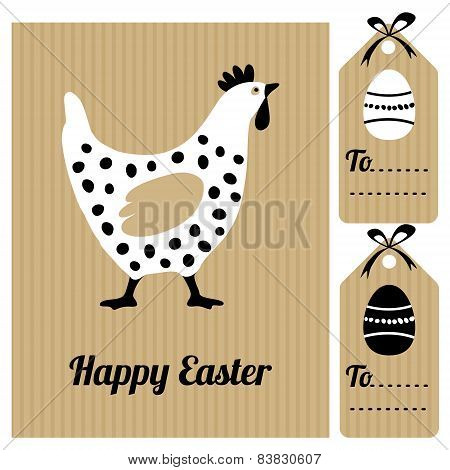 Cute Easter Card With Hen And Eggs, Invitation,vector