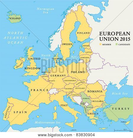 European Union Countries Political Map 2015