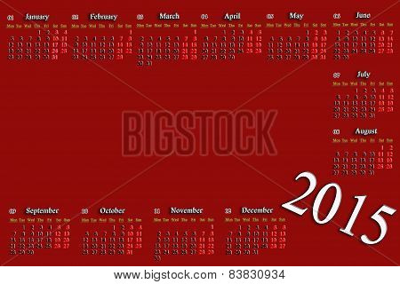 Claret Calendar For 2015 Year With Place For Image