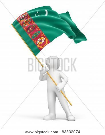 Man and Turkmenistan flag (clipping path included)