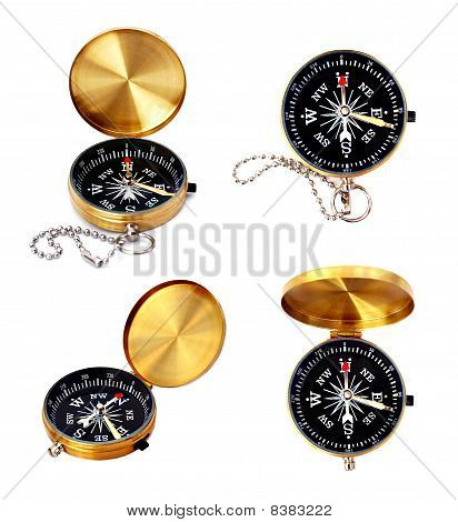 Golden Compass Set Isolated