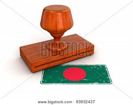 Rubber Stamp Bangladesh flag (clipping path included)