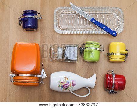 Multi-colored ceramic kitchen ware, top view