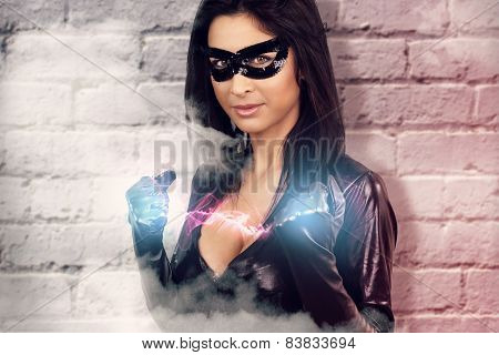 sexy woman dressed as a super hero