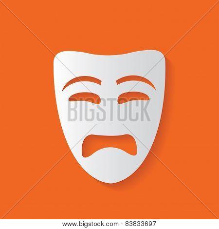 Sad mask symbol,vector