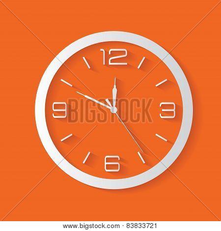 Clock symbol on orange background,shadow clean vector