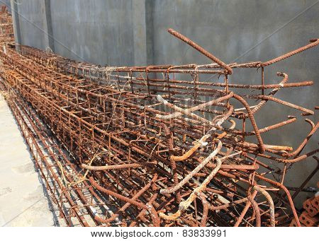 Steel Rods Used To Reinforce Concrete In Construction Site