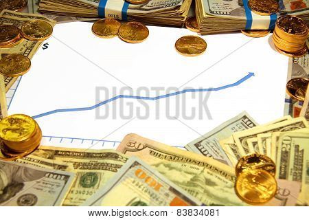 blank chart graph blue rising up with gold and money