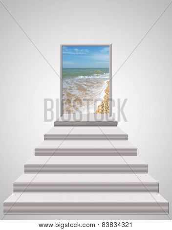 Stairs Leading From Room To Ocean Waves