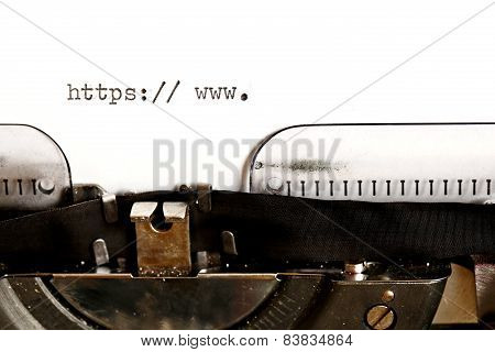 Old typewriter with text http