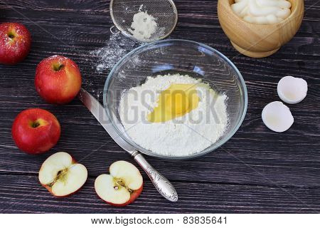 Apples, Flour And Fresh Eggs For Charlotte Preparation