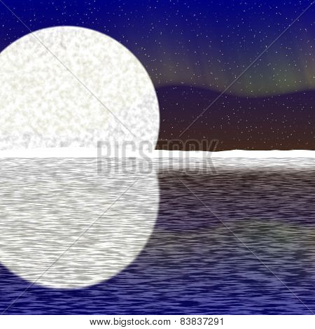 Illustration Of Big Moon, Aurora On Nigh Sky And Snowy Horizon