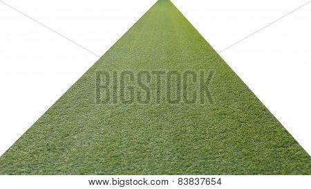 Artificial Green Grass Pathway Isolated On A White Background