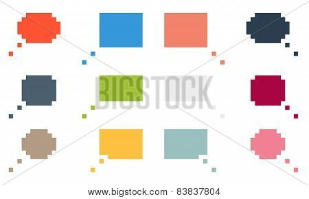Collection Of 12 Colorful Isolated Pixel Speech Bubbles