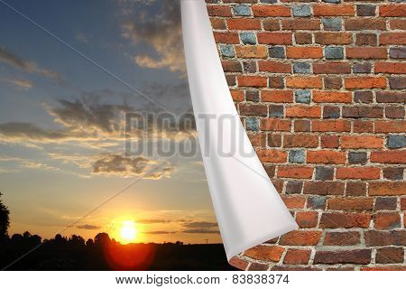 Brick Cuff On The Beautiful Panorama Of Sunset