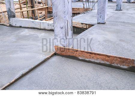 Floor Wet Mixed Concrete At Construction Site