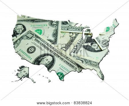 Map Of Usa Made From Dollars