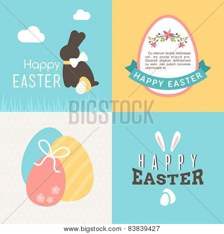 Happy Easter Vector Greeting Card Design. Vector Illustration With Easter Bunny