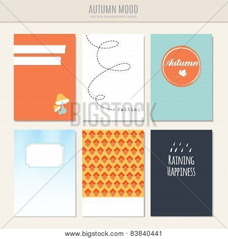 Set Of Autumn Fall Greeting, Journaling Cards, Vector