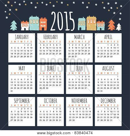 Calendar 2015 With Cute Winter Houses, Vector Illustration