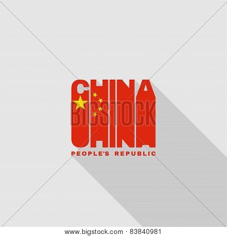 China Flag Typography, T-shirt Graphics