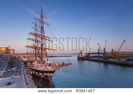 Tall Ship Moored At Poole Quay