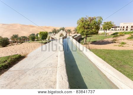 Irrigation Canal In A Desert Resort