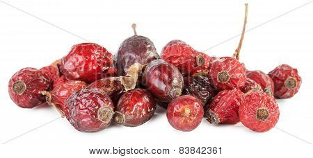 Dried Rose Hips Berries On A White Background