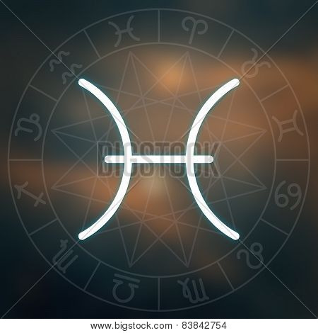 Zodiac Sign - Pisces. White Thin Simple Line Astrological Symbol On Blurry Abstract Space Background