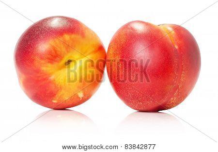 Juicy Nectarines Isolated On The White Background