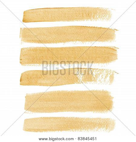 Gold ink vector brush strokes