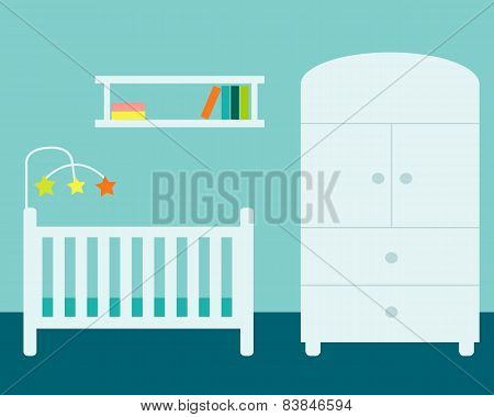 Nursery. Room with wardrobe, cradle and bookshelf. Vector illustration
