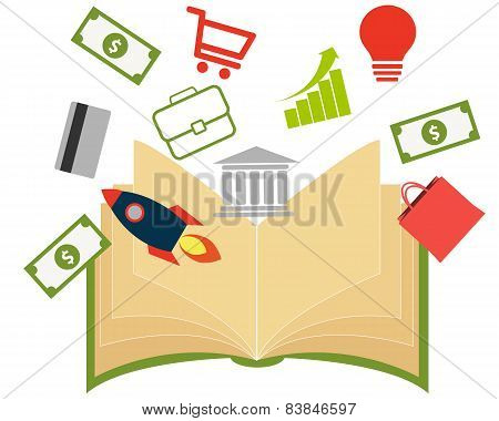 Business book with money, bag,  rocket, bank and the schedule of success. Vector illustration
