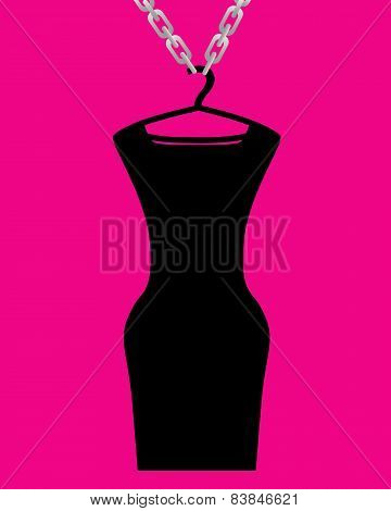 Little black dress dressed on a hanger and chain. Vector illustration