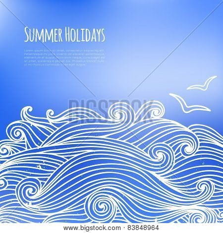 Summer Background With Sea Waves And Seagulls.