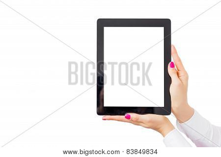 Woman holding tablet computer with empty white screen