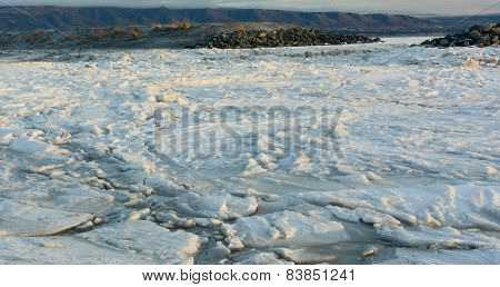 Ice Floe Behind Gravel Bar